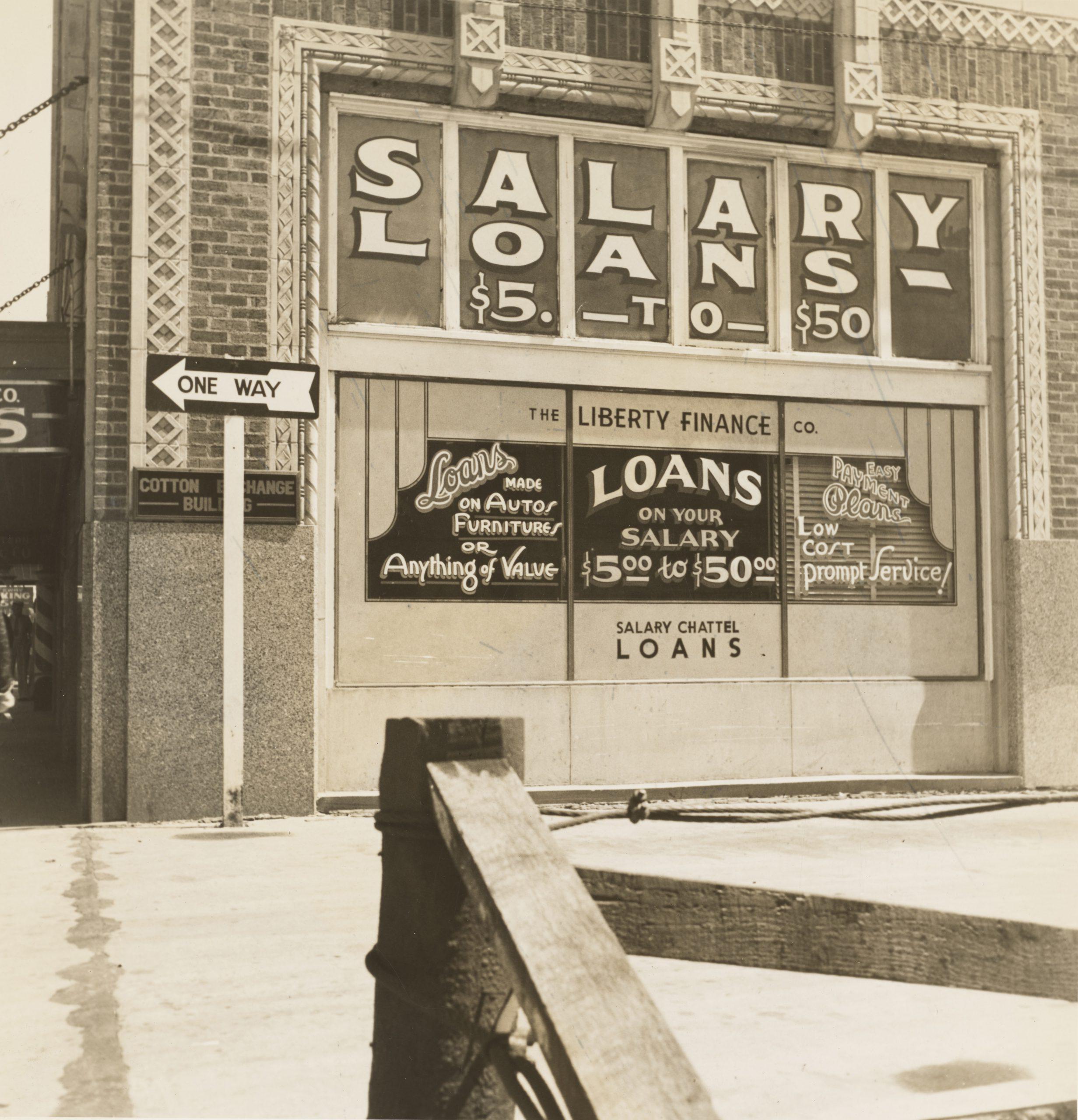 Dorothea Lange photograph of the Liberty Finance Company in Oklahoma City, OK, 1937